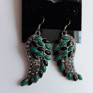 Angel wings pewter tone with jade like stones